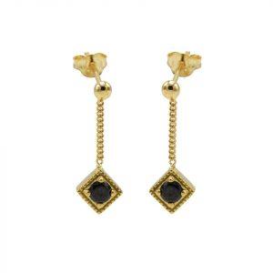 Black Zirconia Square Diamond Goldplated