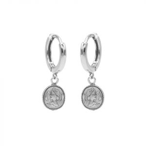 Hinged Hoops Symbols Coin Silver