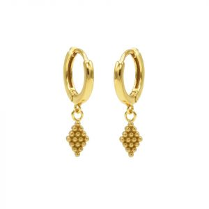 Hinged Hoops Symbols Dots Diamond Goldplated