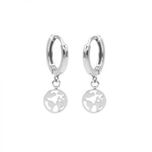 Hinged Hoops Symbols Earth Silver
