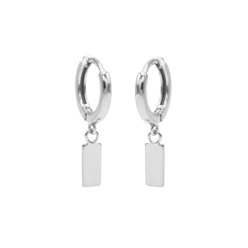 Hinged Hoops Symbols Mini Rectangle Silver