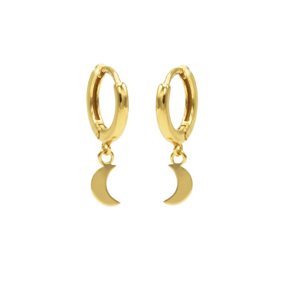 Hinged Hoops Symbols Moon Goldplated