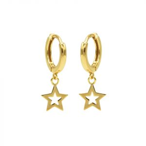 Hinged Hoops Symbols Open Star Goldplated