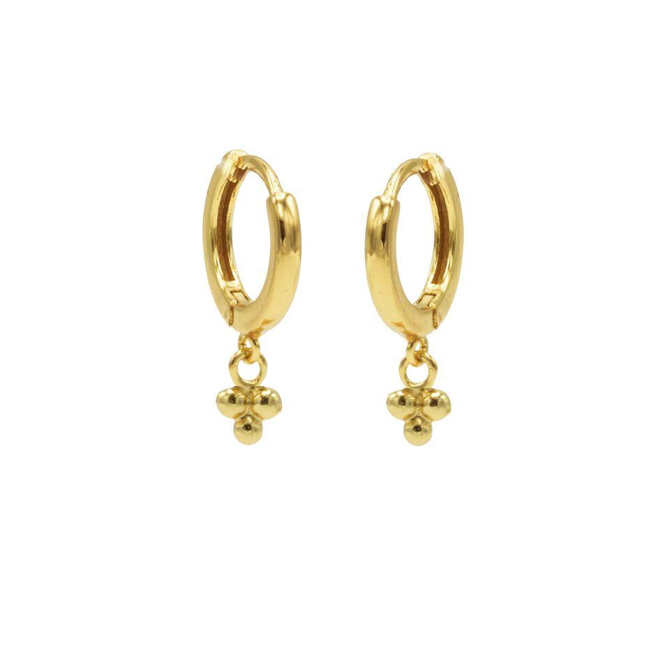 Hinged Hoops Symbols Triple Dots Goldplated