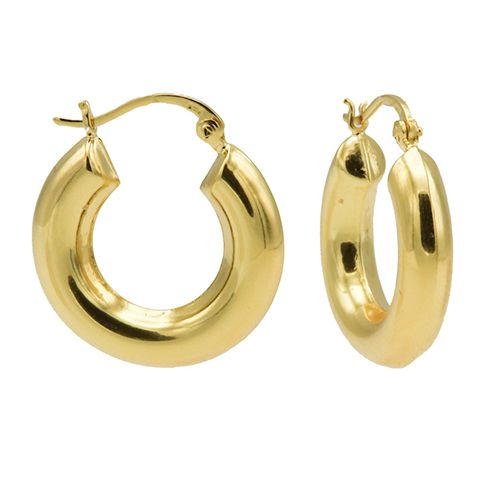 Plain Hoops Big Round Tube Goldplated 25MM