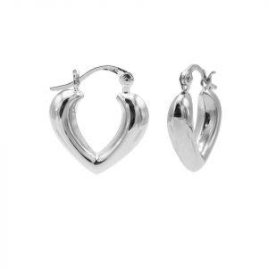 Plain Hoops Heart Shape Ribble Silver 15MM