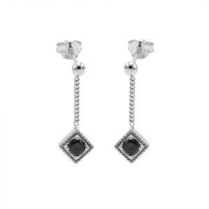 black zirconia square diamond silver