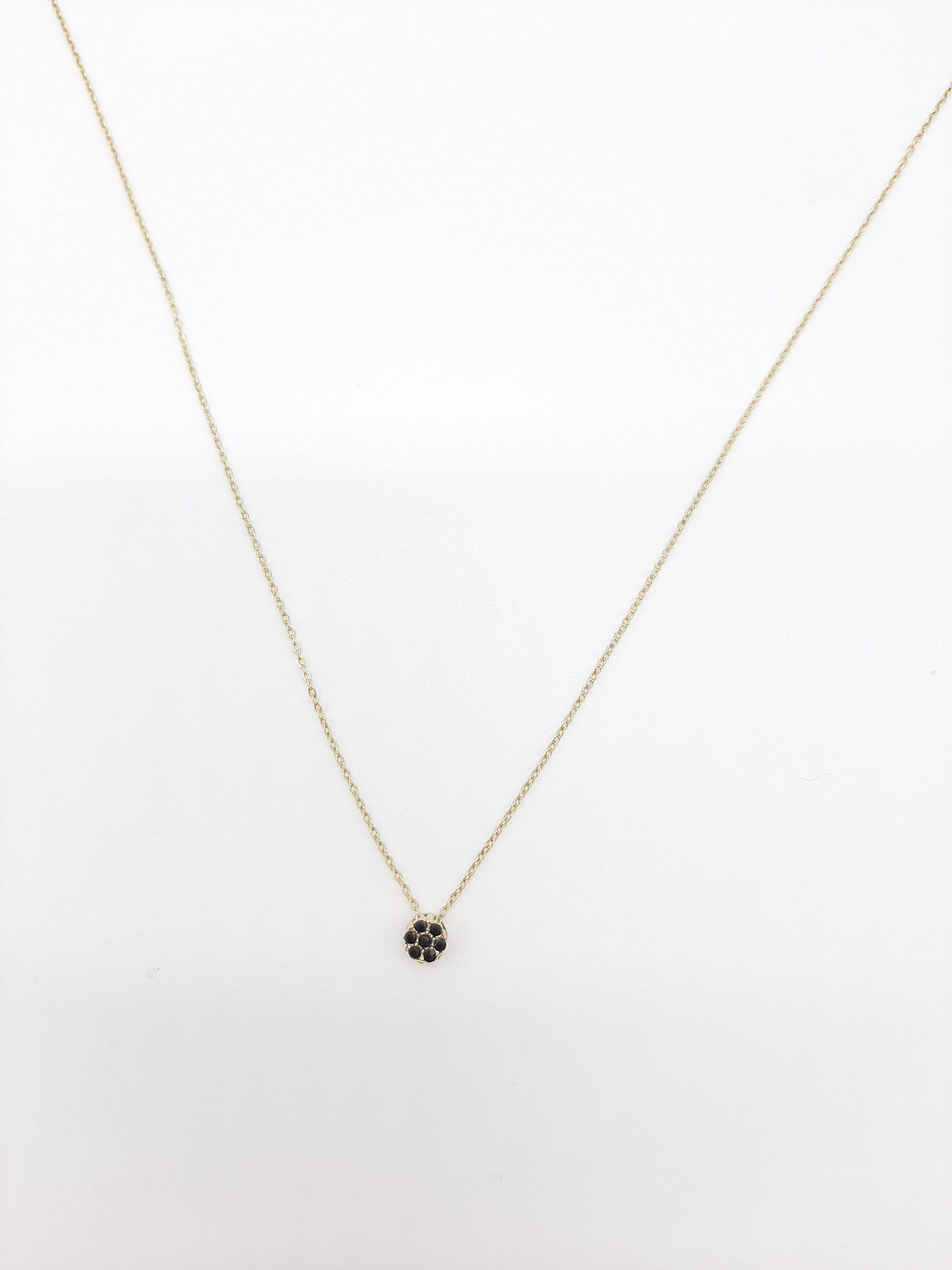 ketting rondje zwarte steentjes goud2