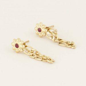 oorbellen bloem en steentje goud