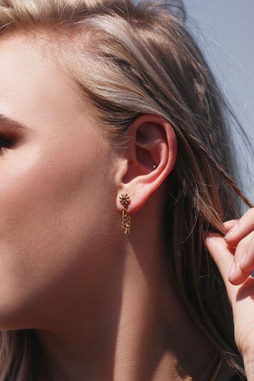 oorbellen bloem en steentje goud2