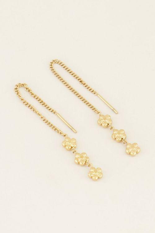 oorbellen drie bloemetjes goud