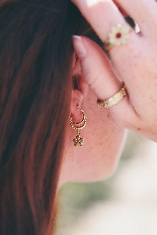 oorbellen violet ring goud